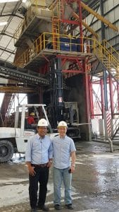 Convinced of the twin-shaft batch mixer's high performance: Managing Director Soerya Widjaja and Manager Romwell Sahata of Calvary Abadi