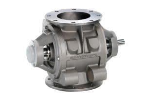 Drop through rotary valve with fixed vane rotor