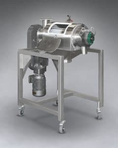 Rotating paddles of the MUNSIFTER™ Centrifugal Sifter fling material against and through apertures of a screen cylinder, ejecting oversize particles through the downstream end of the cylinder and into a discharge port.