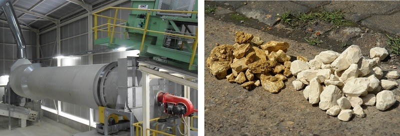 Combined Allgaier drying and cleaning drum TRH (left) and limestone before and after the treatment (right)