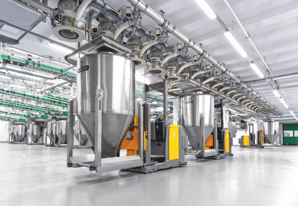 Fully automated collection system with Daxner Container Systems DCS in connection with the Automated Guided Vehicle system AGV Container series DCHD in hygienic design, volume capacity 1,200 ltr, CIP compatible
