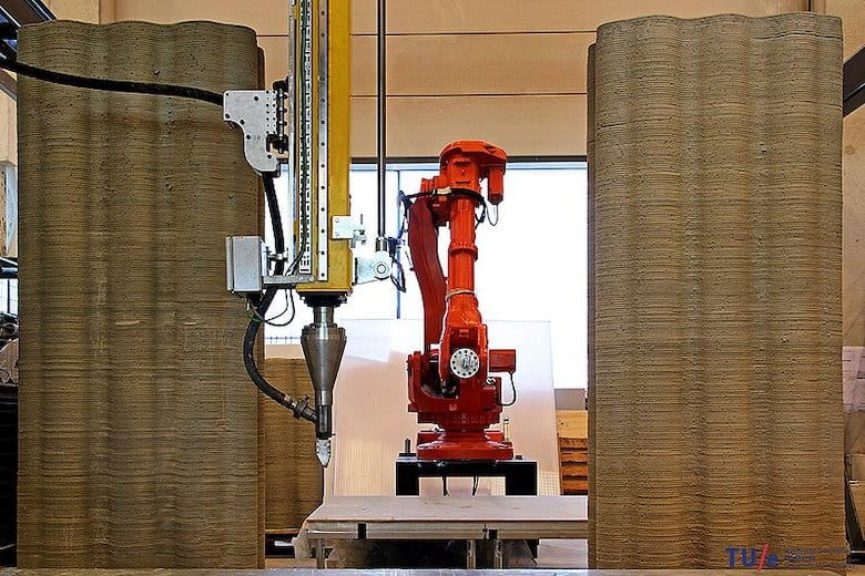 The Technical University of Eindhoven (TU/e) has been in the news a lot in recent years with the 3D printing of concrete. Together with the construction industry, the university wants to develop knowhow to print recyclable concrete products.