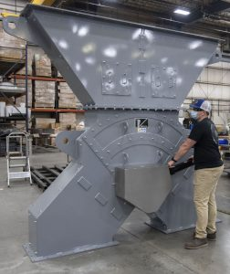 The hydraulically-actuated Vortex Titan-Lined Diverter being manufactured