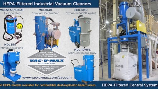 HEPA-Filtered Industrial Vacuum Cleaners Maximize Dust Collection, Air Pollution Control, and OSHA Regulatory Compliance