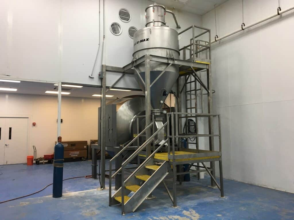 VAC-U-MAX 80ft3 Vacuum Receiver System holds a full batch of ingredients ready for the rotary batch mixer at a leading beverage producer.
